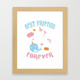 Cute Kawaii Narwhal Unicorn Bff Best Friends Forever Shirt Framed Art Print