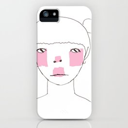 Line Drawing of Girl with Bun  iPhone Case