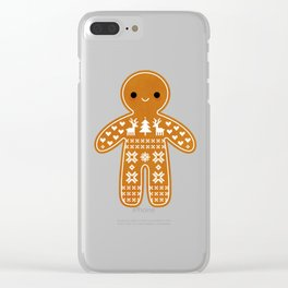 SWEATER PATTERN GINGERBREAD COOKIE Clear iPhone Case