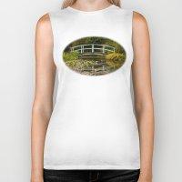 monet Biker Tanks featuring Monet Bridge Reflected by Wealie