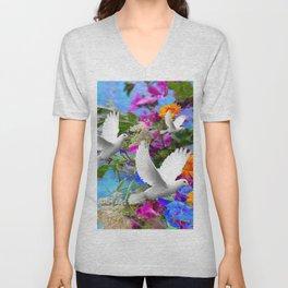 White Doves in Blue & Purple Garden Unisex V-Neck