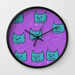 Cute Cats in blue Wall Clock