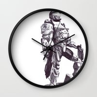 master chief Wall Clocks featuring Master Chief 117 by DeMoose_Art