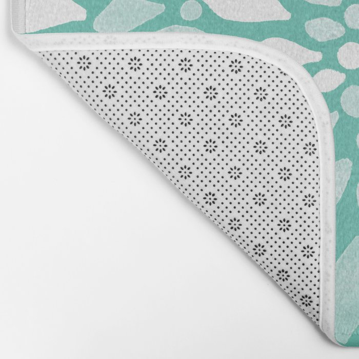 Radiant Dahlia in Teal and White Bath Mat