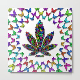 Butterflies Cannabis Leaf 2 Metal Print