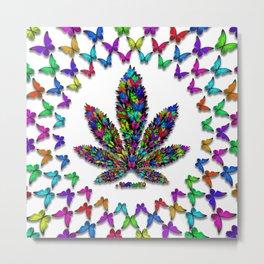 Butterflies Cannabis Leaf 2 Metal Print