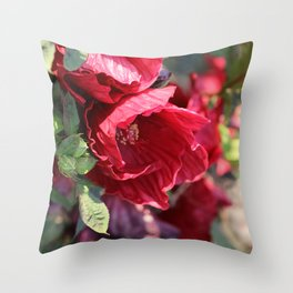 Ruby Red Hibiscus Throw Pillow