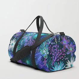 Eden Floral Blue Duffle Bag