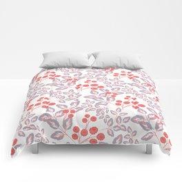 Delicate sprigs, red - orange flowers. Comforters