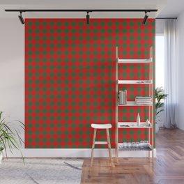 Medium Holly Red and Evergreen Green Christmas Country Cabin Buffalo Check Wall Mural
