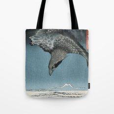 Raven Over Winter Landscape Tote Bag