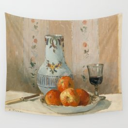 Camille Pissarro - Still Life with Apples and Pitcher (1872) Wall Tapestry