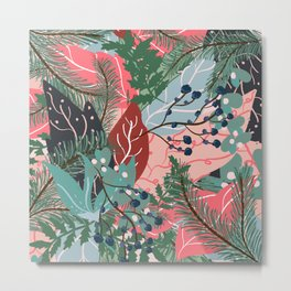 modern christmas abstract floral illustration pink blue green pattern Metal Print