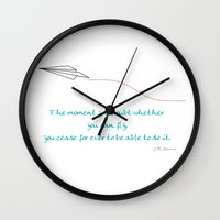 airplanes Wall Clocks featuring Paper Airplanes - You Can Fly - Deep Teal by Sugar Spice and Nutmeg