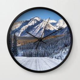 Winter Wonderland - Road in the Canadian Rockies Wall Clock