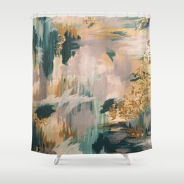 Teal and Gold Abstract- 24K Magic Shower Curtain