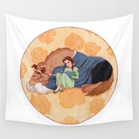 beauty and the beast Wall Tapestries featuring Beauty and the Beast by Naineuh