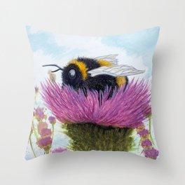 Bumblebee on a Thistle Throw Pillow