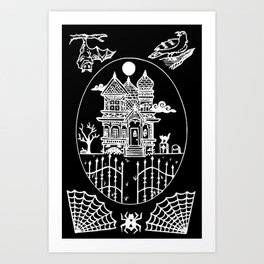 Ominous Victorian House Invert Art Print