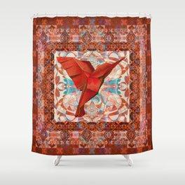 Crimson Hummingbird Vintage Velvet Boho Tapestry Print Shower Curtain