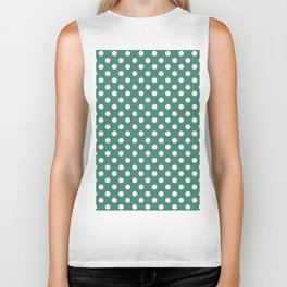 Viridian Green and White Polka Dot Pattern Biker Tank