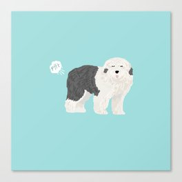 old english sheepdog farting dog cute funny dog gifts pure breed dogs Canvas Print