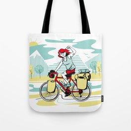 Cycling Girl Tote Bag