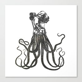 Octodiver on white background vintage collage image Canvas Print