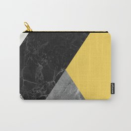 Black and White Marbles and Pantone Primrose Yellow Color Carry-All Pouch