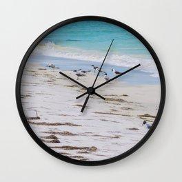 Beach Seagulls Tall Print Wall Clock