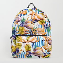 Tropical pattern of flamingos and pineapple Backpack