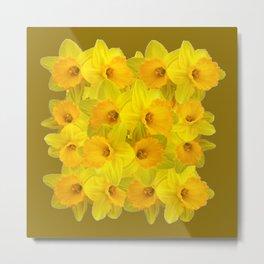 Olive Colored Golden Daffodile Floral Abundance Metal Print