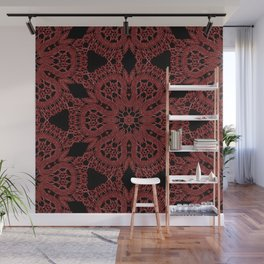 Red Lace Pattern Wall Mural