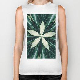 White Leaves In A Green Forest Kaleidoscope Biker Tank