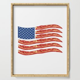 "When Bacon Is Love, Bacon Is Life ""American Flag Bacon"" T-shirt Design Food Breakfast Lunch Snack Serving Tray"