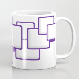 PURPLE SQUARES ON A WHITE BACKGROUND Abstract Art Coffee Mug