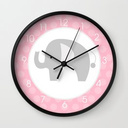 Mod Elephant Pink and Gray Clock Wall Clock