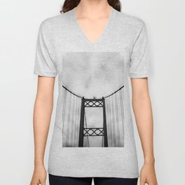 Vintage Monochromatic Black and White Bridge with Clouds Fine Art Print Unisex V-Neck