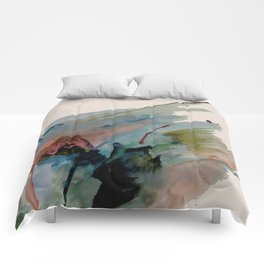 Begin again [2]: an abstract mixed media piece in a variety of colors Comforters
