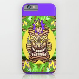 Happy Jester Tiki With Flames iPhone Case