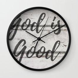 God Is Good Wood Rustic Quote Print Wall Clock