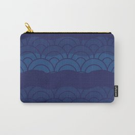 Oriental Blue Abstract Pattern with Lines and Waves Carry-All Pouch