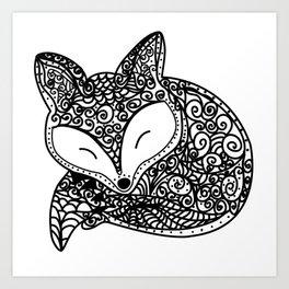 Black and White Mandala Fox Design Illustration Art Print