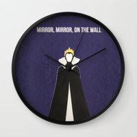 evil queen Wall Clocks featuring Disney Villain - Evil Queen by Tessa Simpson