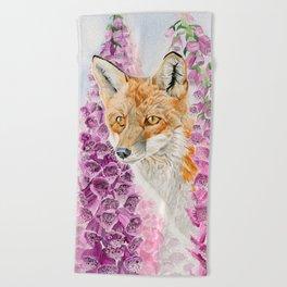 Foxglove Fox Beach Towel