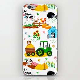 Cute Barnyard Farm Animals Pattern iPhone Skin
