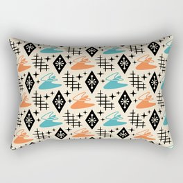 Mid Century Modern Boomerang Abstract Pattern Orange and Turquoise 161 Rectangular Pillow