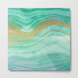 Ocean Blue And Green Mermaid Glamour Marble I Metal Print