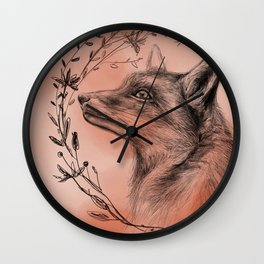 Fox & Wreath Wall Clock