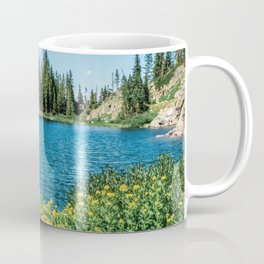 Yellow Flower Lake // Beautiful Daylight Evergreen Mountain Landscape Photograph Coffee Mug